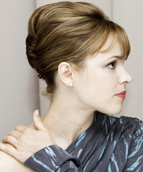 Rachel McAdams  Long Straight Formal   Updo Hairstyle with Side Swept Bangs  -  Brunette Hair Color - Side View