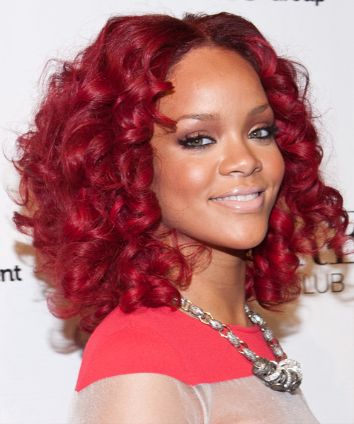 Rihanna Medium Curly Formal Layered Bob  Hairstyle   - Medium Bright Red Hair Color - Side View