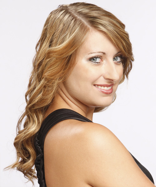 Long Curly Formal   Hairstyle with Side Swept Bangs  - Dark Blonde (Golden) - Side View