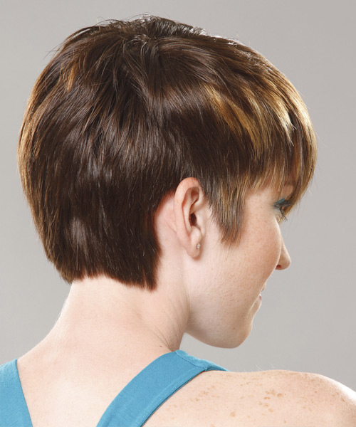 Short Straight Casual  Pixie  Hairstyle with Side Swept Bangs  - Dark Golden Brunette Hair Color - Side View