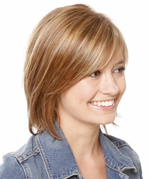 Medium Straight Casual Layered Bob  Hairstyle with Side Swept Bangs  - Light Brunette Hair Color with  Blonde Highlights - Side View