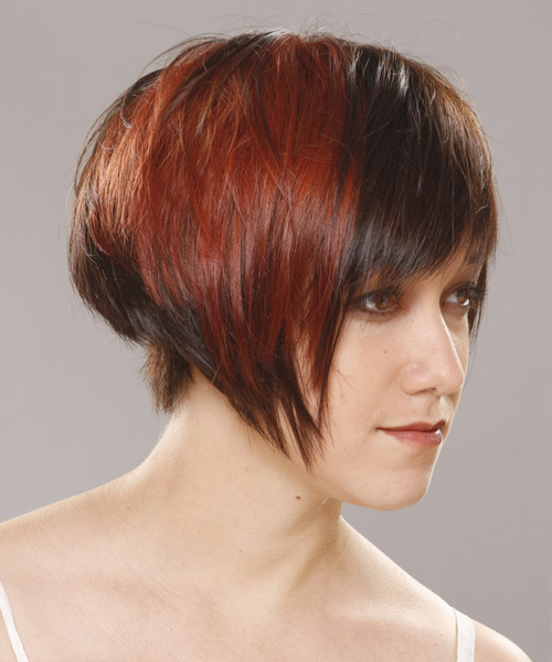 Short Straight Casual  Pixie  Hairstyle with Asymmetrical Bangs  - Dark Brunette and Orange Two-Tone Hair Color - Side View