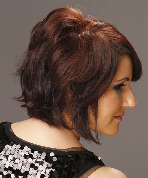 Short Straight Casual  Bob  Hairstyle with Side Swept Bangs  - Dark Red and  Red Two-Tone Hair Color - Side View