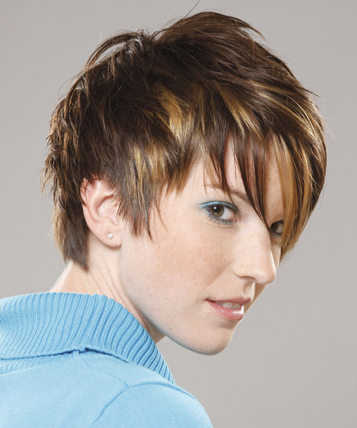 Short Straight Casual Layered Pixie  Hairstyle with Asymmetrical Bangs  - Medium Honey Brunette Hair Color - Side View