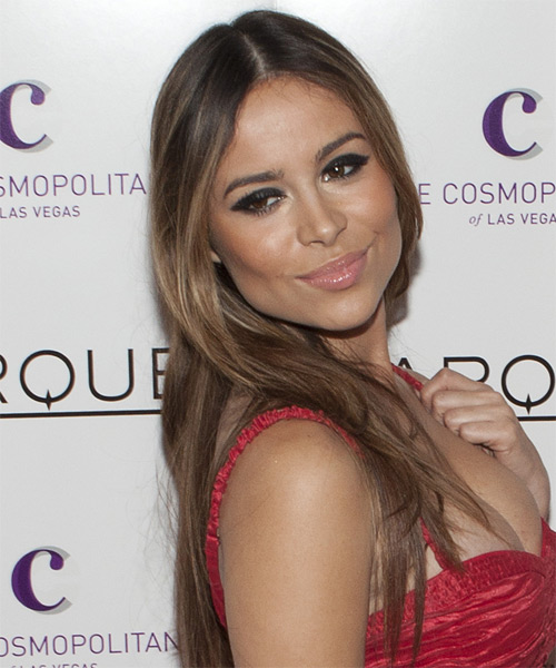 Zulay Henao Long Straight    Brunette and Dark Brunette Two-Tone   Hairstyle   - Side View