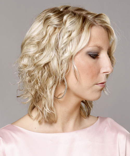 Medium Curly   Light Champagne Blonde   Hairstyle   - Side View