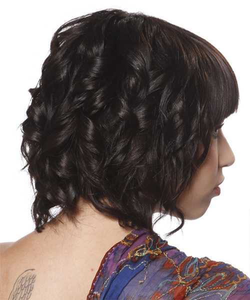 Medium Curly Formal  Bob  Hairstyle with Blunt Cut Bangs  - Dark Brunette Hair Color - Side View