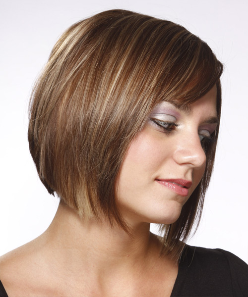 Medium Straight    Ash Brunette Bob  Haircut with Side Swept Bangs  and Light Blonde Highlights - Side View