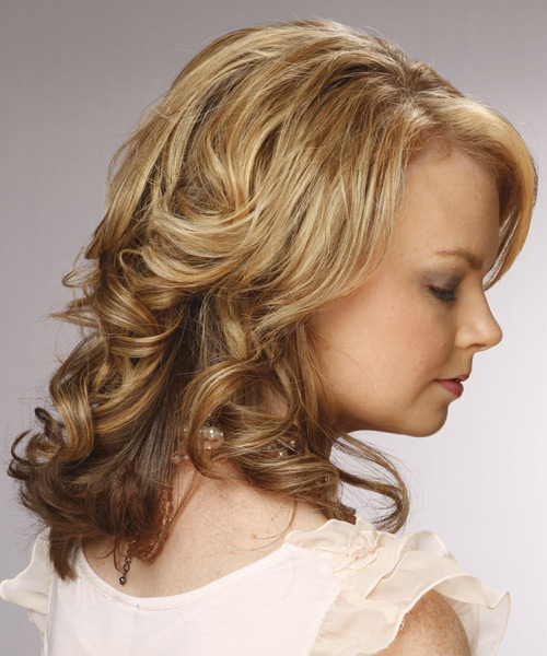 Medium Curly Formal    Hairstyle with Side Swept Bangs  -  Golden Blonde Hair Color with  Blonde Highlights - Side View