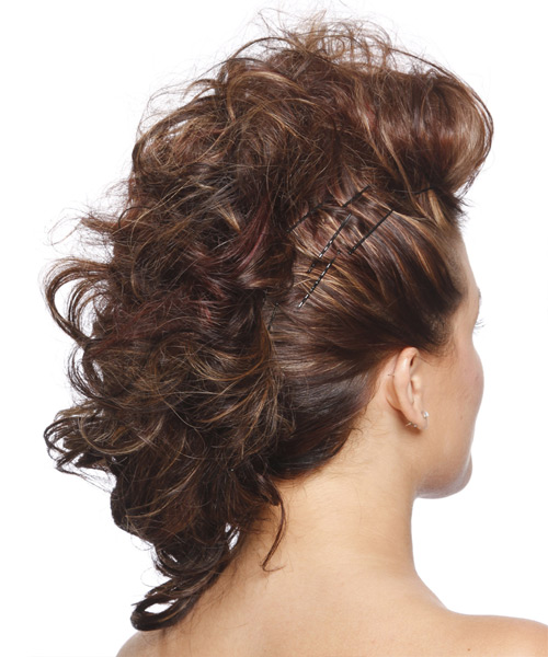 Medium Curly    Chestnut Brunette  Updo    - Side View