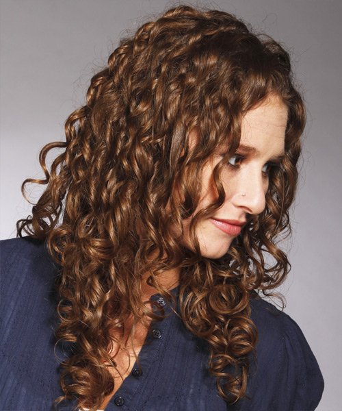 Long Curly Casual   Hairstyle   - Medium Brunette (Chocolate) - Side View