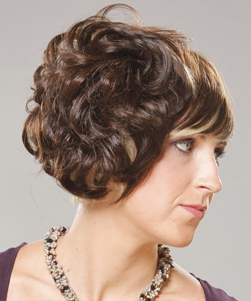 Medium Curly Formal   Updo Hairstyle with Blunt Cut Bangs  -  Brunette Hair Color with Light Blonde Highlights - Side View