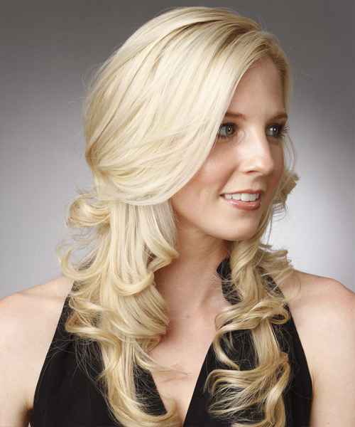 Long Wavy   Light Platinum Blonde   Hairstyle with Side Swept Bangs  - Side View