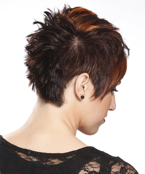 Short Straight Alternative  Pixie  Hairstyle with Layered Bangs  - Dark Brunette and Orange Two-Tone Hair Color - Side View