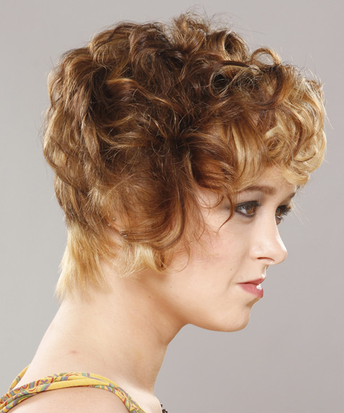 Short Curly   Light Caramel Brunette   Hairstyle   with Light Blonde Highlights - Side View