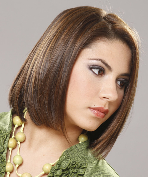Medium Straight Casual Bob  Hairstyle   (Chocolate) - Side View