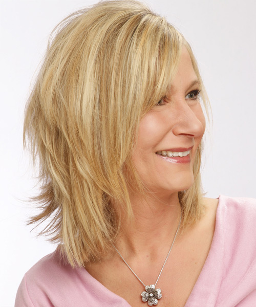 Medium Straight Casual   Hairstyle with Side Swept Bangs  - Light Blonde (Golden) - Side View