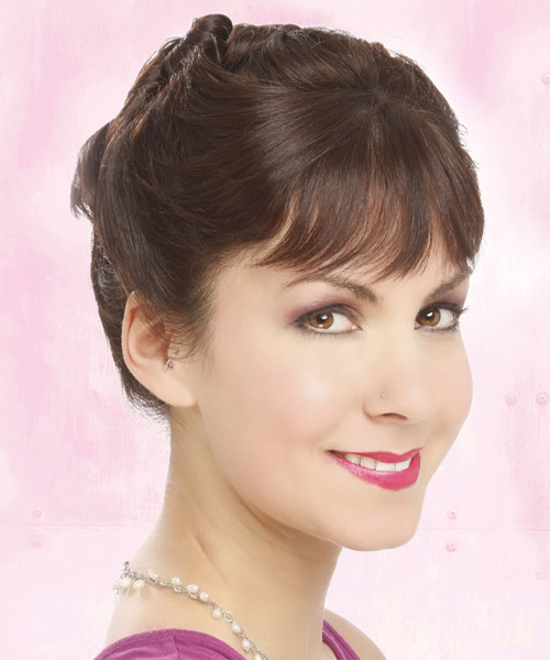Long Straight Formal   Updo Hairstyle with Blunt Cut Bangs  -  Brunette Hair Color - Side View