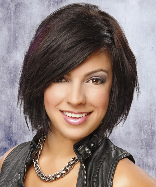 Medium Straight Casual    Hairstyle with Side Swept Bangs  - Dark Auburn Brunette Hair Color - Side View