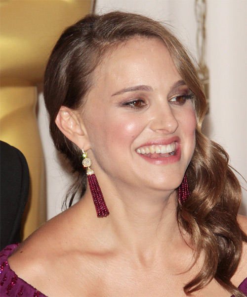 Natalie Portman Long Wavy Formal    Hairstyle   - Medium Caramel Brunette Hair Color - Side View