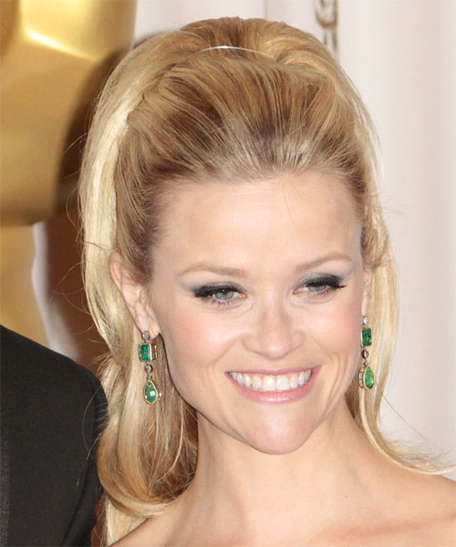 Reese Witherspoon  Long Curly Formal   Half Up Hairstyle   - Light Blonde and  Brunette Two-Tone Hair Color - Side View
