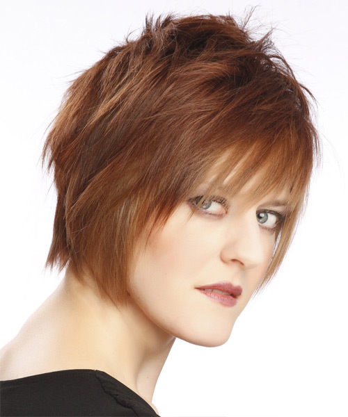 Short Straight Alternative   Hairstyle with Layered Bangs  - Light Brunette (Auburn) - Side View