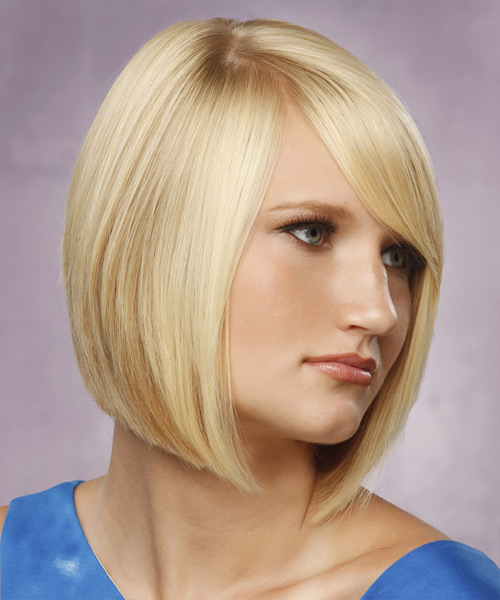 Medium Straight   Light Blonde Bob  Haircut with Side Swept Bangs  - Side View