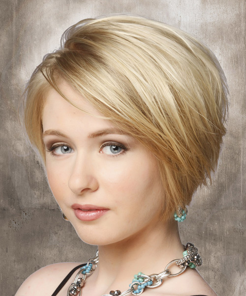 Short Straight Casual    Hairstyle   - Light Blonde Hair Color - Side View