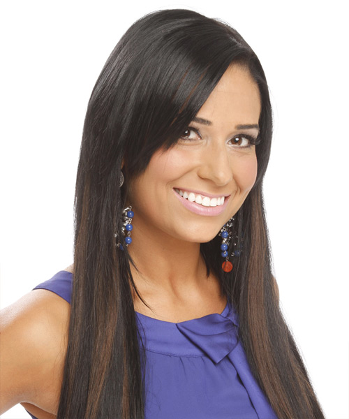 Long Straight Casual    Hairstyle   - Black  Hair Color - Side View
