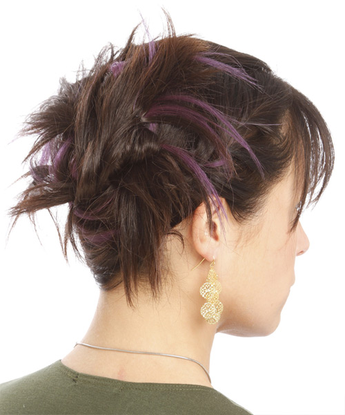 Updo Long Straight Casual  Updo Hairstyle with Layered Bangs  - Medium Brunette - Side View