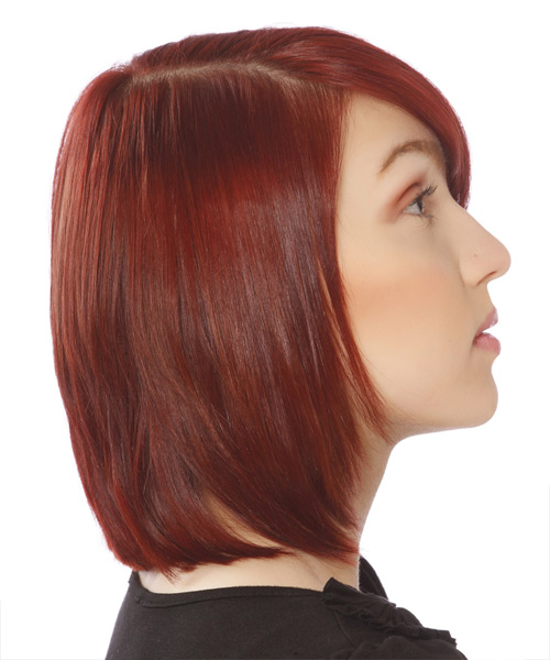 Medium Straight Formal Bob  Hairstyle with Side Swept Bangs  - Medium Red - Side View