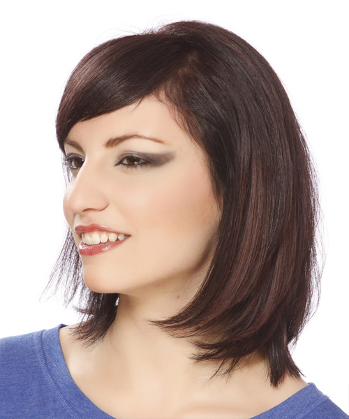 Medium Straight Formal  Bob  Hairstyle with Side Swept Bangs  -  Plum Brunette Hair Color - Side View