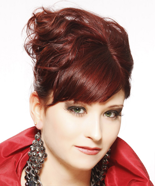 Long Curly Formal   Updo Hairstyle with Side Swept Bangs  - Dark Burgundy Red Hair Color - Side View