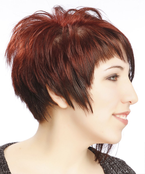 Short Straight Alternative Asymmetrical Hairstyle With Asymmetrical Bangs    Red Hair Color   Side View