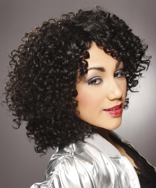 Medium Curly Casual   Hairstyle   - Black - Side View