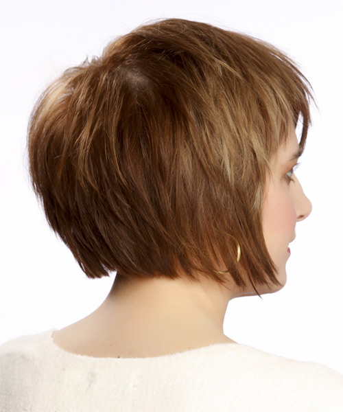Medium Straight Casual   Hairstyle with Side Swept Bangs  - Light Brunette (Caramel) - Side View