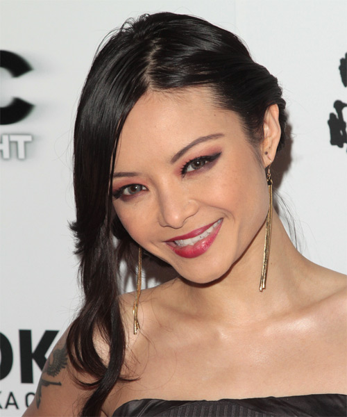 Tila Tequila  Long Straight Formal   Updo Hairstyle   - Black  Hair Color - Side View