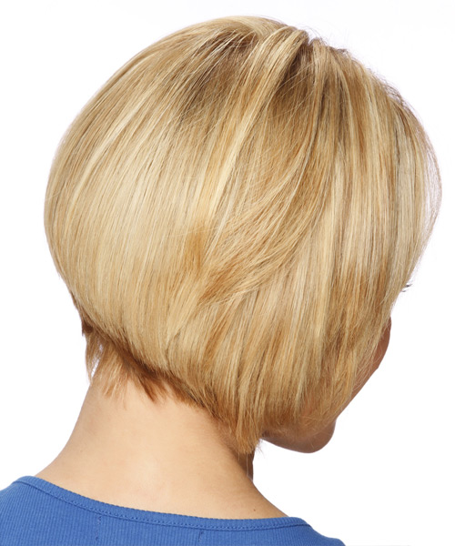 Short Straight Formal Bob  Hairstyle with Side Swept Bangs  - Light Blonde (Honey) - Side View