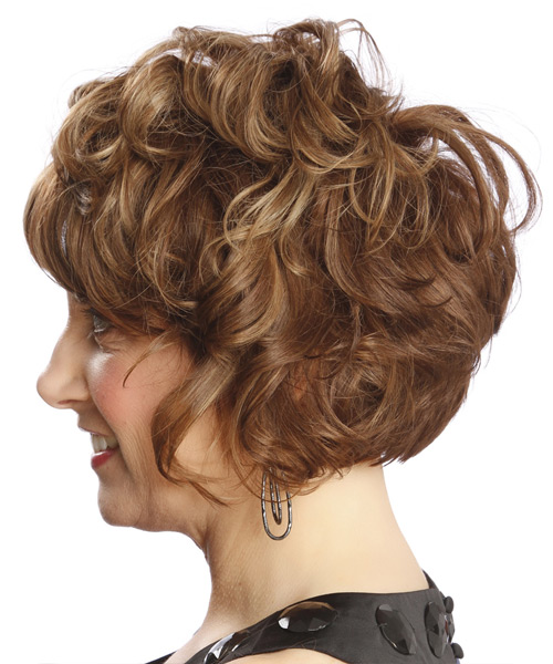 Short Curly    Chestnut Brunette   Hairstyle with Side Swept Bangs  and  Blonde Highlights - Side View