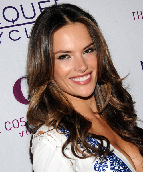 Alessandra Ambrosio Long Wavy Formal    Hairstyle   - Dark Brunette Hair Color with Dark Blonde Highlights - Side View
