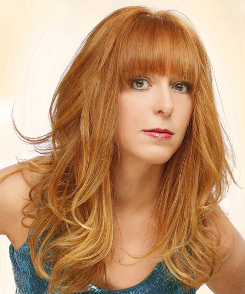 Long Straight Casual   Hairstyle with Blunt Cut Bangs  - Light Red (Ginger) - Side View