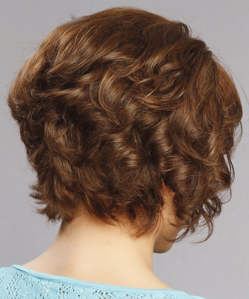 Short Curly Formal    Hairstyle with Side Swept Bangs  -  Auburn Brunette Hair Color with Light Blonde Highlights - Side View