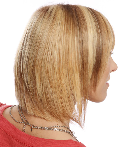 Medium Straight Formal Layered Bob  Hairstyle with Layered Bangs  - Dark Blonde Hair Color with Light Blonde Highlights - Side View