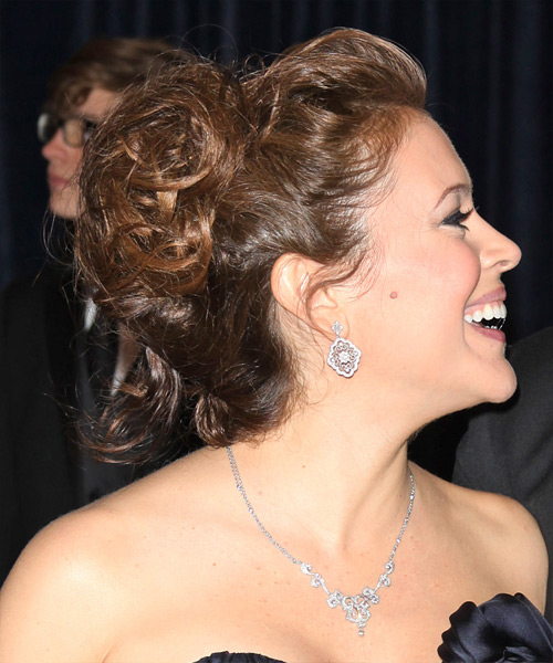 Alyssa Milano  Long Curly   Light Brunette  Updo    - Side View