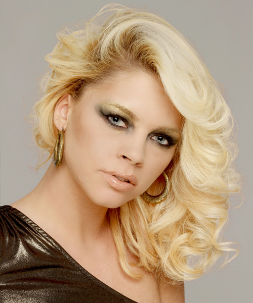 Medium Curly Formal    Hairstyle   - Light Platinum Blonde Hair Color - Side View