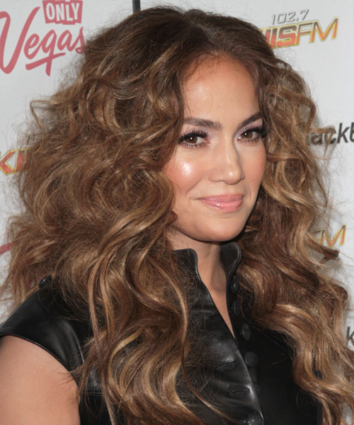 Jennifer Lopez Long Curly Casual    Hairstyle   - Light Brunette Hair Color with Dark Blonde Highlights - Side View