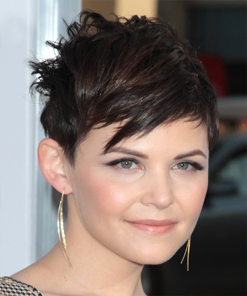 Ginnifer Goodwin   Layered  Dark Brunette Pixie  Cut with Side Swept Bangs  - Side View