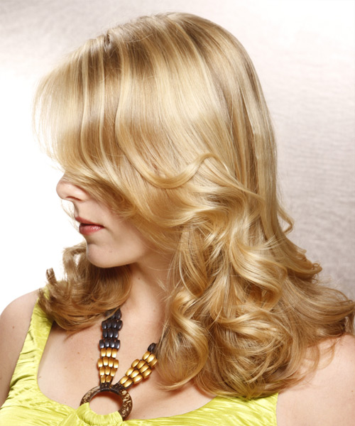 Long Wavy Formal   Hairstyle   - Light Blonde (Champagne) - Side View