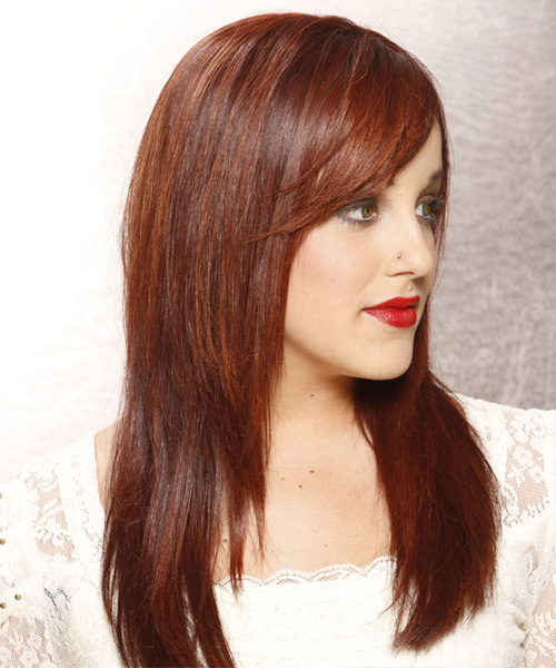 Long Straight Casual    Hairstyle with Side Swept Bangs  -  Auburn Red Hair Color - Side View