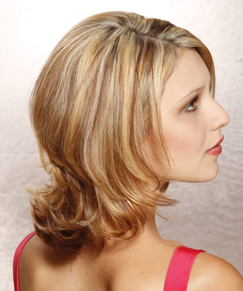 Medium Straight   Dark Golden Blonde   Hairstyle   with Light Blonde Highlights - Side View